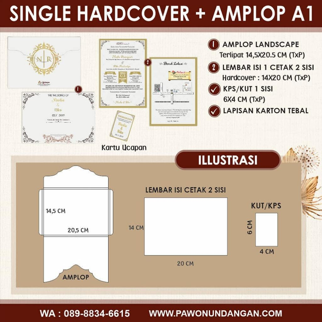 single hardcover amplop a1