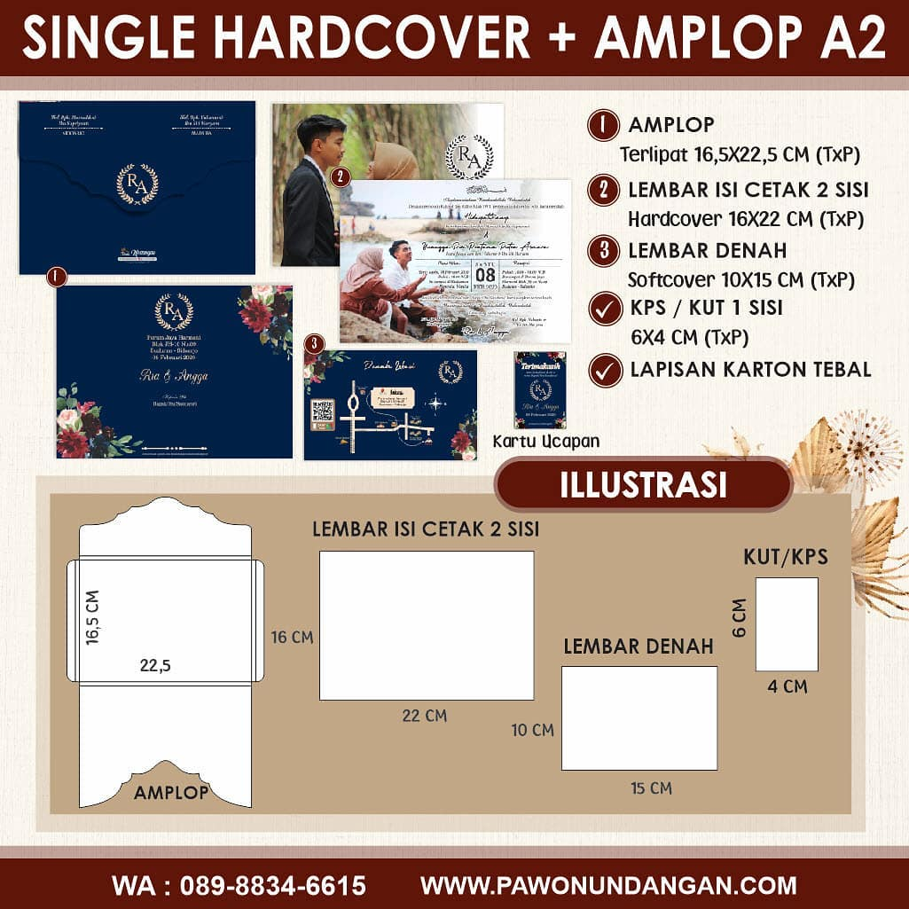 single hardcover amplop a2