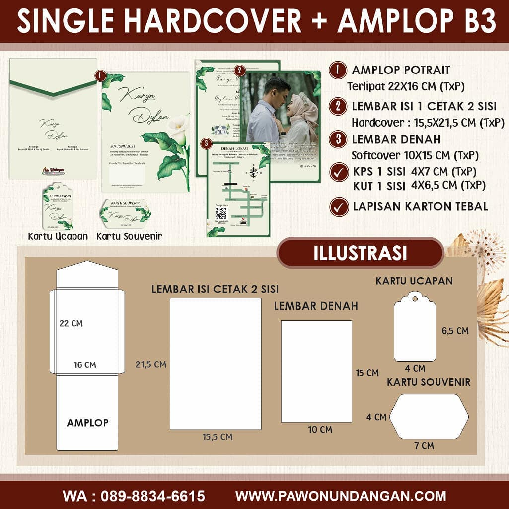 single hardcover amplop b3