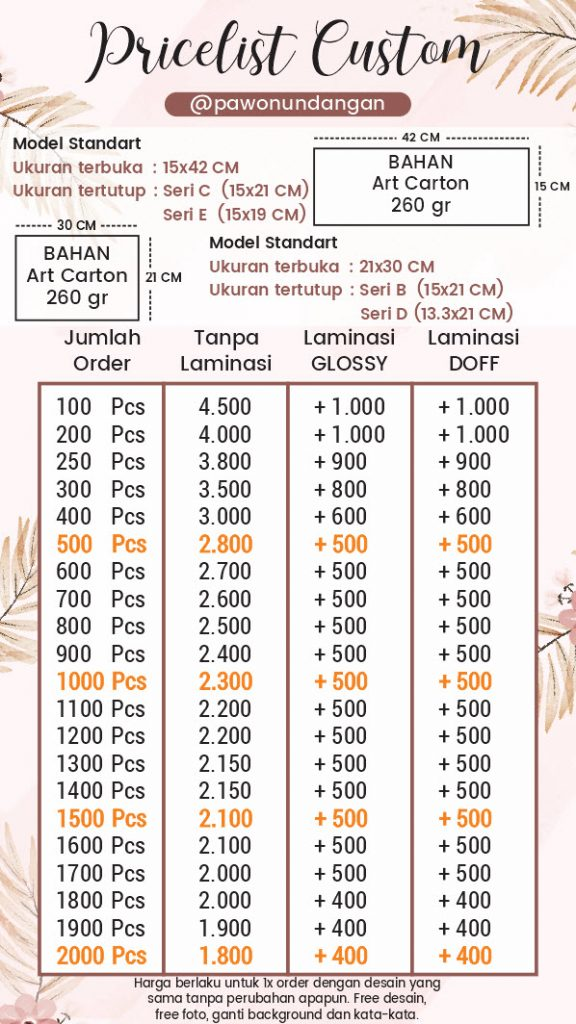 pricelist undangan softcover custom model standart