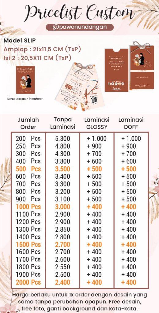 pricelist undangan softcover custom slip